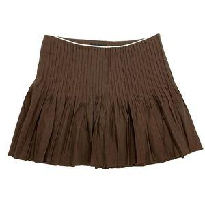 Bebe Brown Linen Pleated Mini Blend Skirt